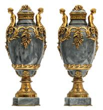 A pair of gilt bronze mounted marble cassolettes, H 55 cm