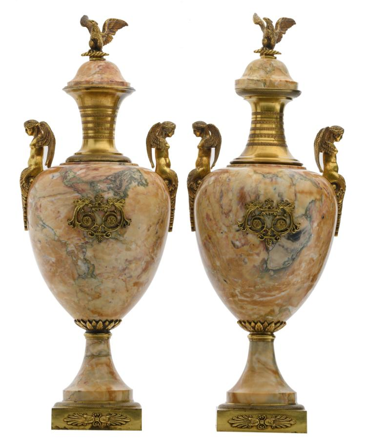 A pair of Neoclassical marble cassolettes with gilt bronze mounts, H 68 cm