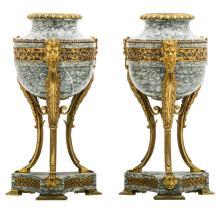 A pair of interwar period Neoclassical vert de mer marble bronze mounted cassolettes, H 34 cm