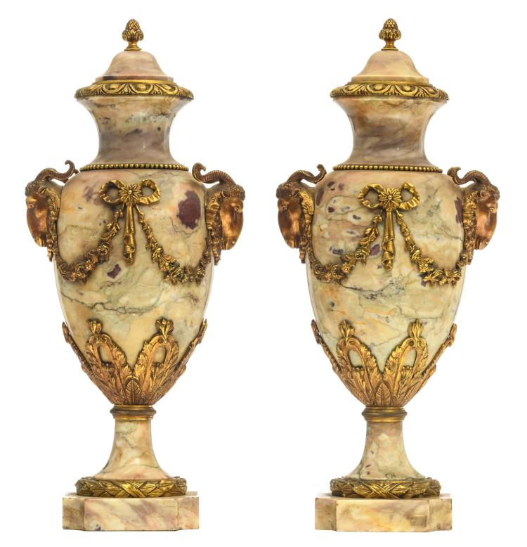 A pair of Neoclassical gilt bronze mounted marble cassolettes, H 53 cm