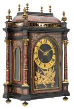 A second half of the 19thC Neoclassical Boulle cartel clock, gilt bronze and brass mounts and ebonised wood, the work marked 'Vincenti & Cie' H 84,5 cm