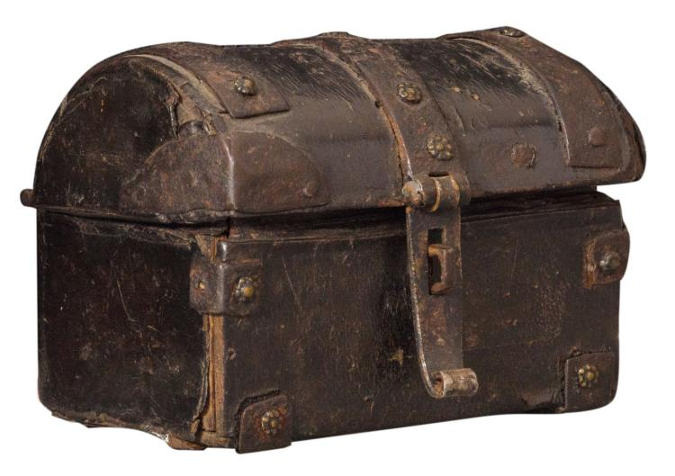 A 16thC leather iron mounted casket, H 8 - W 10 - D 8 cm