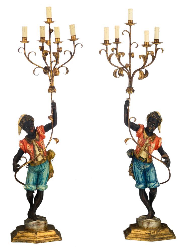 A pair of blackamoor candelabras, H 128 cm