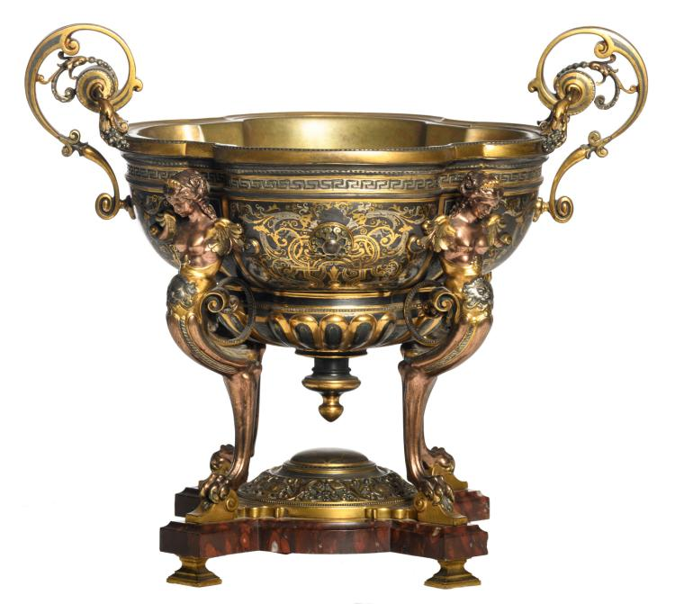 A Historism Renaissance revival bronze and enamelled bronze jardiniere on a rouge impérial base and carried by four chimeras, H 36 - W 40 - D 29,5 cm
