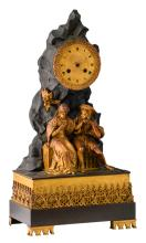 A 19thC French Gothic revival patinated and gilt bronze mantle clock in so-called 'Style Troubadour', the work marked 'B.P & F. - Paris', H 43 - W 22 cm