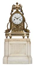 A late 19thC Neoclassical Carrara marble and gilt bronze mounted mantle clock, marked 'Chailly à Lille', H 35 (without base) - H 55 cm (with base)