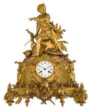 A Historism gilt bronze mantle clock crowned with a Moorish army commander, H 58 cm