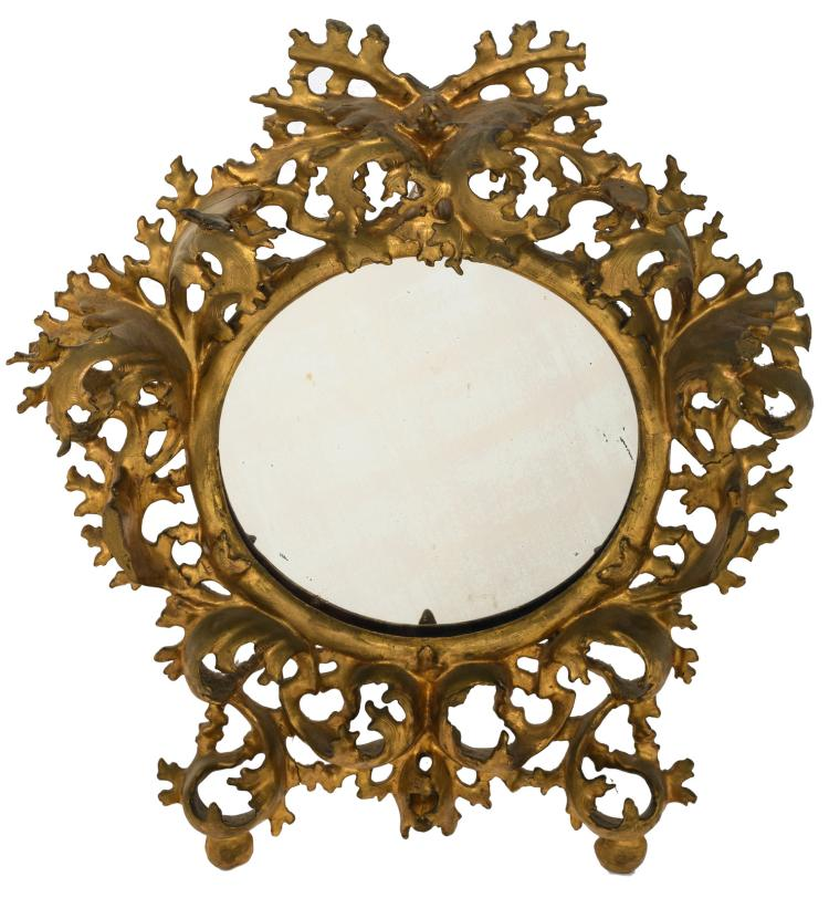 A mirror in an 18thC gilt wood Rococo style frame, H 52,5 cm