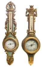 Two polychrome decorated and gilt wood barometers in the manner of the 18thC, H 93 cm