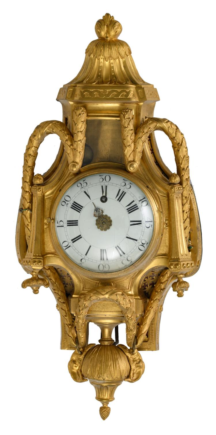 A fine Neoclassical wall clock, the work marked 'Ferdinand Berthou à Paris', (18thC) and later, H 71 cm