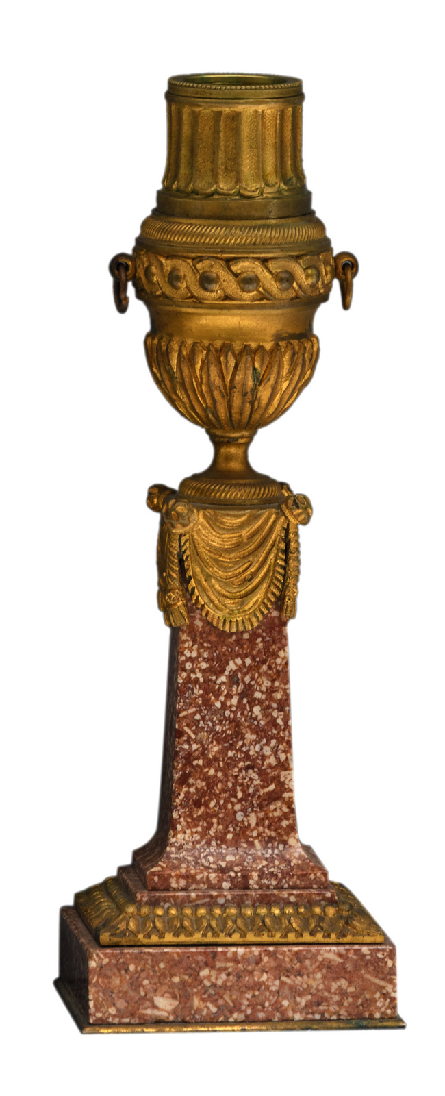A Neoclassical decorative gilt bronze mounted (porphyry) trophy/candlestick, H 21 cm