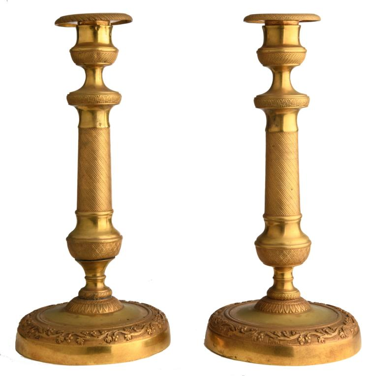 A pair of second half of the 19thC gilt bronze candelabras, H 25,5 cm