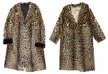 Two ladies fur coats (leopard) (measures 46/48 - 38/40 - with a proviso)