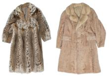 Two ladies fur coats (1 x astrakan) (measure 38/40 - with a proviso)