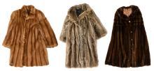 Three ladies fur coats (measures 42/44 x 2 - 44/46 - with a proviso)