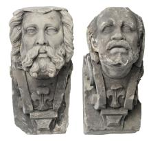 Two carved decorative corbels, one depicting a Moorish man and one depicting a historicising figure, H 57 - 58 cm