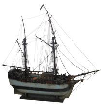 A brig ship model, H 75,5 - W 75,5 - D 23,5 cm