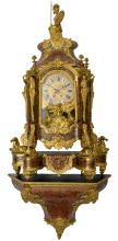 A fine second half of the 19thC Neoclassical Boulle marquetry cartel clock, gilt bronze mounts and ebonised wood, on top the statue of Pallas Athena, the work marked A.D. Mougin, H 175 cm