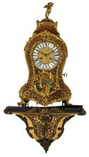 A 19thC Rococo style gilt bronze mounted Boulle cartel clock, marked 'Hybright Leamington', H 72,5 cm