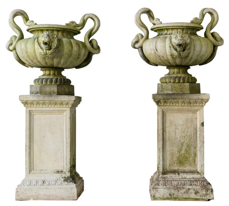 A pair of fine reconstituted stone garden vases on ditto pedestals, H 179 - W 95 - D 95 cm