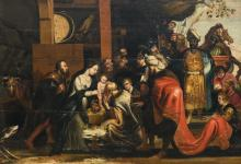 Unsigned, the Adoration of the Magi, oil on panel, early 17thC, the Southern Netherlands, 75 x 107 cm