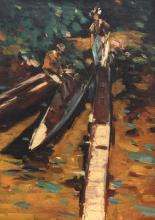 Pinot A., the boating, oil on canvas, 40 x 55 cm