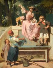 (Lami E.), blowing bubbles, oil on canvas, late 19th - early 20thC, 32 x 41 cm