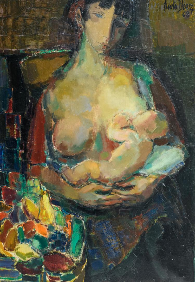 Diez A., mother and child, oil on canvas, dated (19)68, 90 x 130 cm
