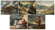 Jamar A., five scenes from 'The Divine Comedy' by Dante Aleghieri, oil on canvas, dated 1939, 38 x 46 cm