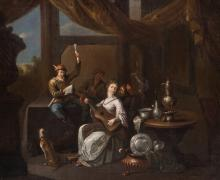Unsigned, a merry company, oil on canvas, 17thC, 49 x 58 cm