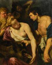 Unsigned, Meleager and Atalanta after Rubens, oil on canvas, 17thC, 106 x 133 cm