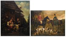 Unsigned, the fruits of the grape harvest, oil on canvas; added (Vernon W.), a hunting scene, color lithograph, (dated 1901),49 x 64,5 - 54 x 67 cm