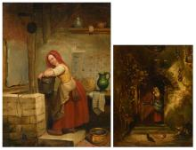 Unsigned, in the pantry, oil on panel, 19thC; added (Hamilton K.), a peeping milk maid, oil on panel, (dated 1877),22 x 27.5 - 28.5 x 39 cm