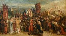 (Portaels J.), the blessing before the battle, oil on canvas, 19thC, 64 x 110 cm