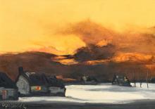 Permeke P., a winter landscape, oil on canvas, 50,5 x 70 cm