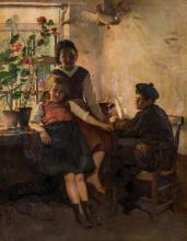 Boudry A., youngsters in a sunlit interior, oil on canvas, 127 x 162 cm