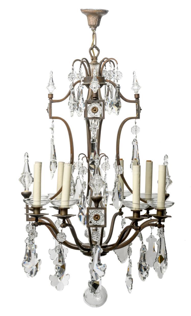 A Belle Époque chandelier, H 110 - W 60 cm