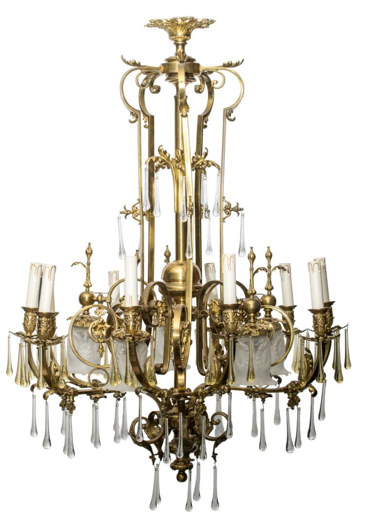 An early 20thC rustic brass chandelier,H 121 - W 90 cm