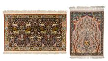 Two Oriental carpets, wool and silk on cotton, decorated with floral motifs and various animals, 64 x 93 and 77,5 x 121,5 cm