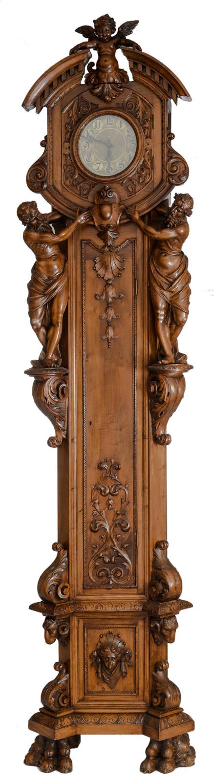 A fine Renaissance revival Italian walnut longcase clock,H 260 - W 63 - D 32 cm