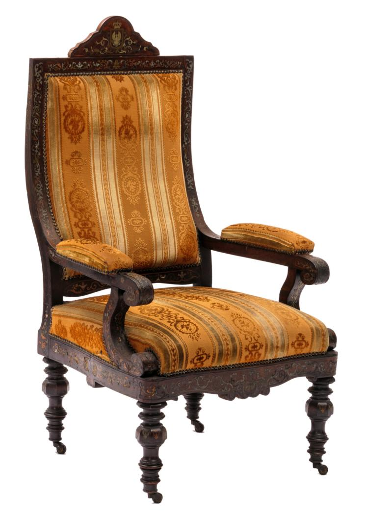 A rosewood and Boulle marquetry Baroque revival armchair, possibly Prussian, 19thC, H 123 - W 68 - D 63 cm