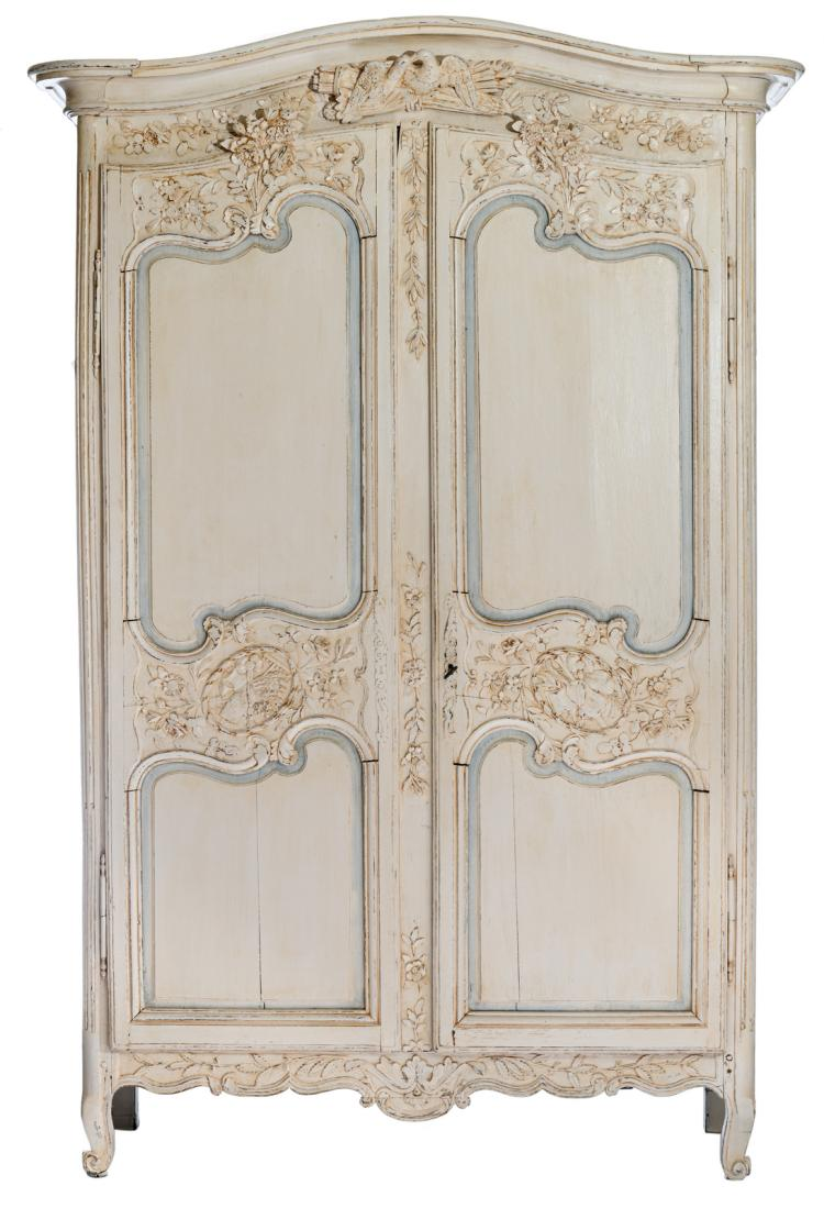 A 19thC oak wardrobe with polychrome decoration of a later date, H 242 - W 163 - D 68 cm