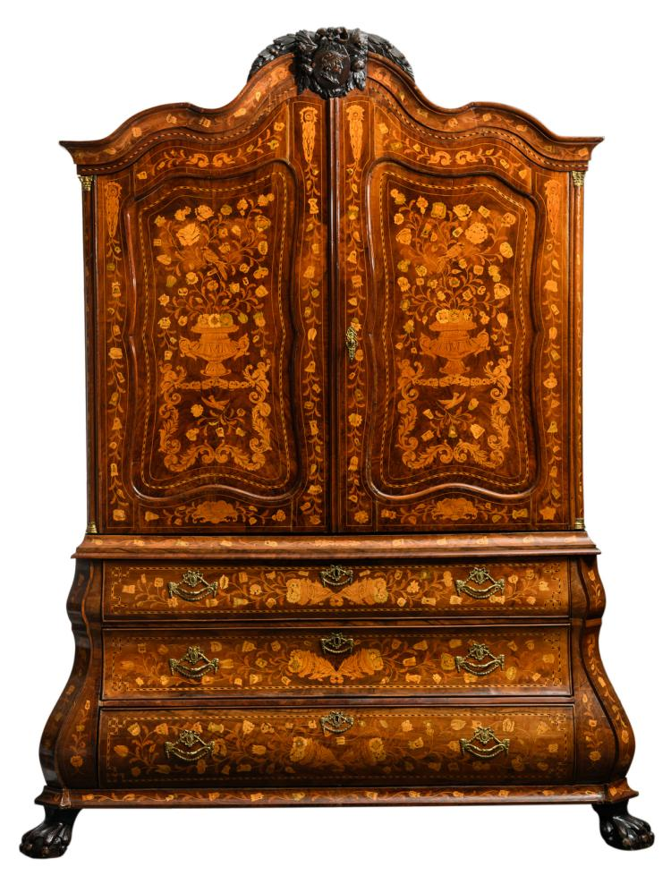 A second half of the 18thC Dutch cabinet with floral marquetry, H 230 - W 153 - D 70 cm