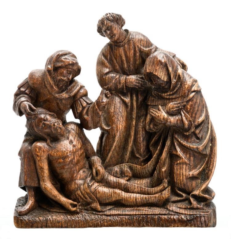 A late 16thC oak South Netherlandish sculpture depicting the Descent from the Cross, H 25 - W 23 cm