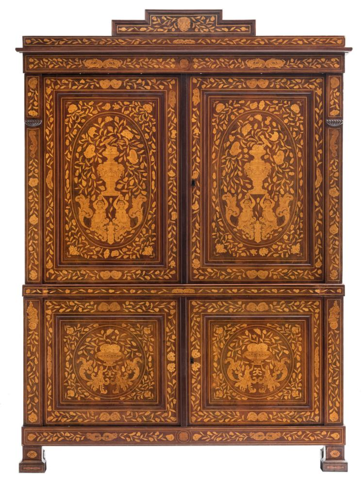An exceptional second half of the 18thC Dutch mahogany veneered cabinet with floral marquetry, H 241 - W 175 cm - D 58,5 cm