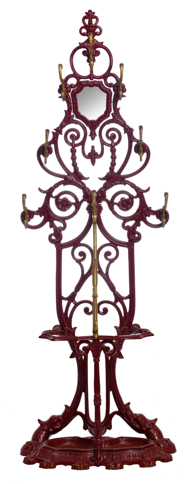 A red lacquered cast iron coat rack, H 195 - W 66 - D 35 cm