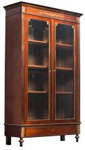 A late 19thC Neoclassical mahogany brass mounted library bookcase, H 224 - W 134,5 - D 48 cm