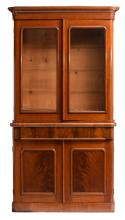 A second half of the 19thC mahogany library bookcase, H 218 - W 113 - D 47,5 cm