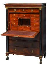 An early 19thC Neoclassical mahogany secrétaire à abattant, H 159 - W 108 - D 52,5 cm