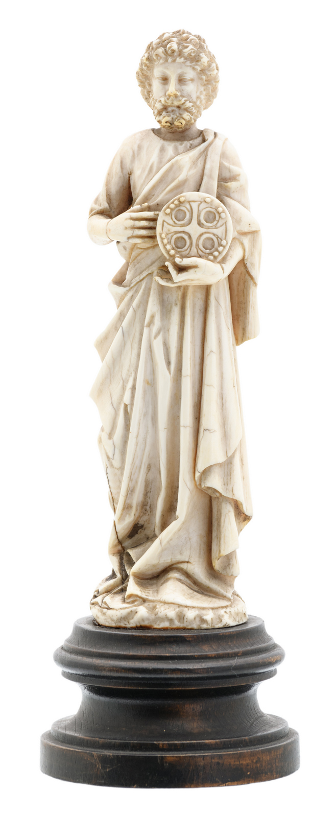 A second half of the 19thC ivory sculpture depicting a saint, on an ebonised wooden base, probably Dieppe, H 17 cm (without base) - 20,5 cm (with base)